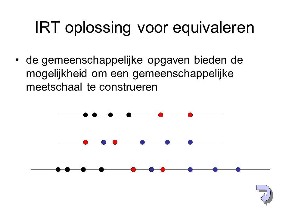37 IRT oplossing voor equivaleren de gemeenschappelijke opgaven bieden de mogelijkheid om een gemeenschappelijke meetschaal te construeren