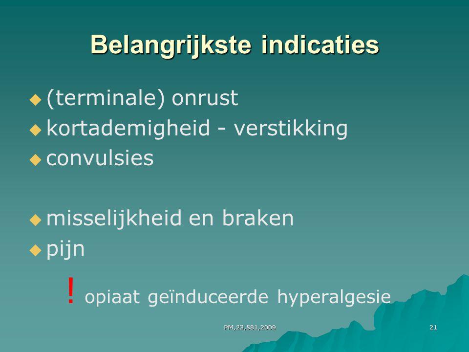 PM,23,581,200921 Belangrijkste indicaties   (terminale) onrust   kortademigheid - verstikking   convulsies   misselijkheid en braken   pijn