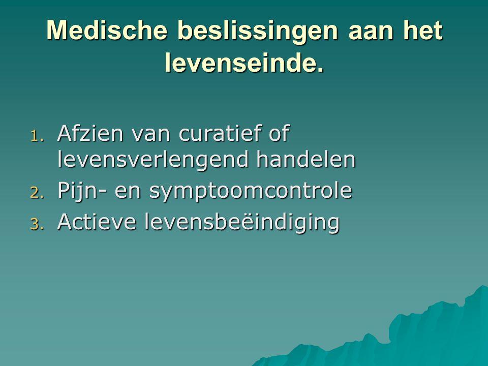 Medische beslissingen aan het levenseinde. 1. Afzien van curatief of levensverlengend handelen 2. Pijn- en symptoomcontrole 3. Actieve levensbeëindigi