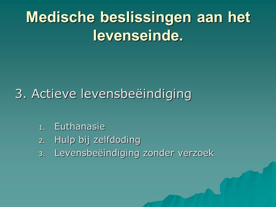 Medische beslissingen aan het levenseinde. 3. Actieve levensbeëindiging 1. Euthanasie 2. Hulp bij zelfdoding 3. Levensbeëindiging zonder verzoek