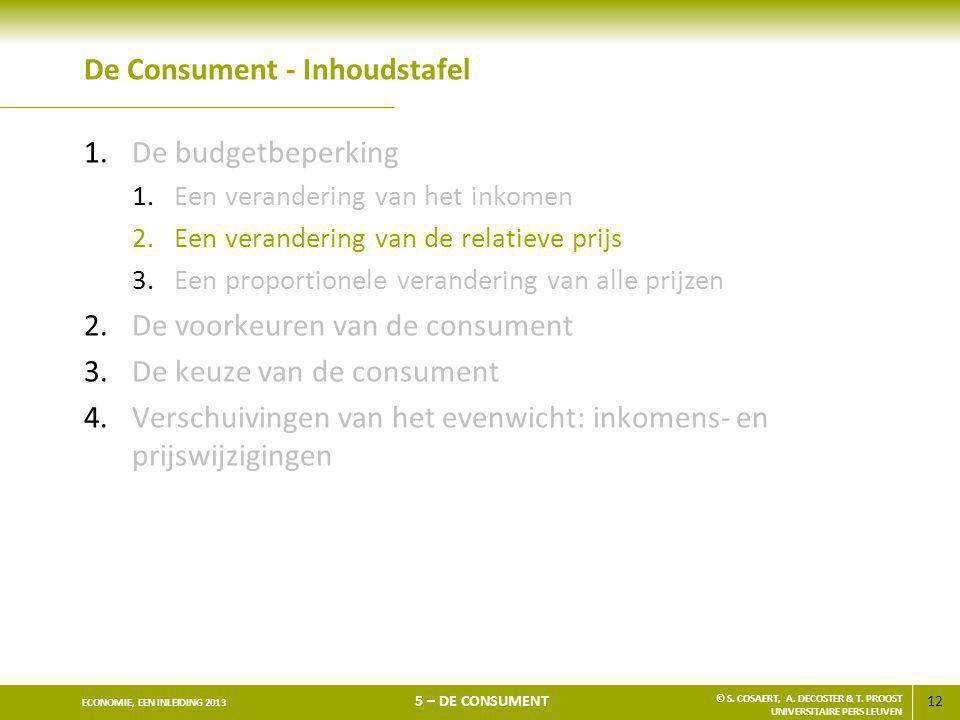 12 ECONOMIE, EEN INLEIDING 2013 5 – DE CONSUMENT © S. COSAERT, A. DECOSTER & T. PROOST UNIVERSITAIRE PERS LEUVEN De Consument - Inhoudstafel 1.De budg
