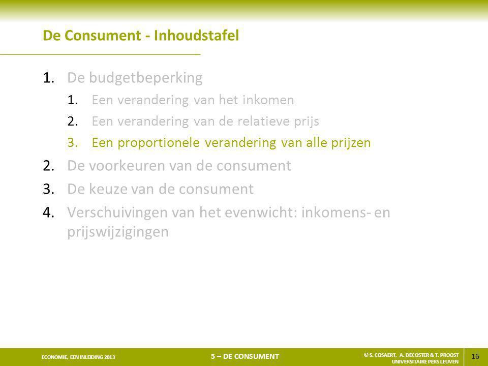16 ECONOMIE, EEN INLEIDING 2013 5 – DE CONSUMENT © S. COSAERT, A. DECOSTER & T. PROOST UNIVERSITAIRE PERS LEUVEN De Consument - Inhoudstafel 1.De budg