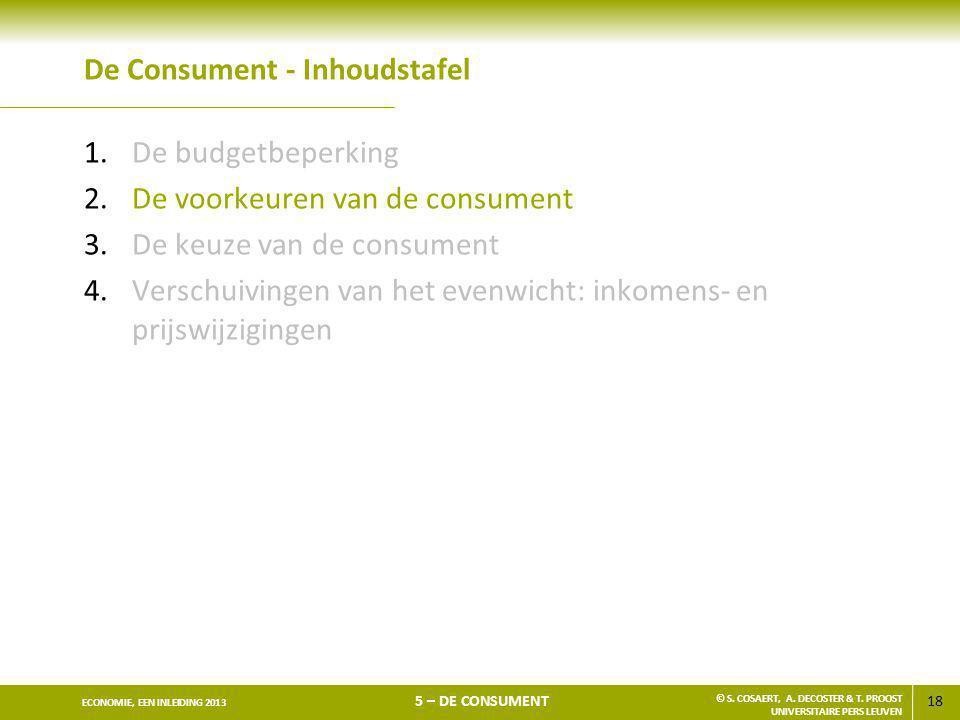 18 ECONOMIE, EEN INLEIDING 2013 5 – DE CONSUMENT © S. COSAERT, A. DECOSTER & T. PROOST UNIVERSITAIRE PERS LEUVEN De Consument - Inhoudstafel 1.De budg
