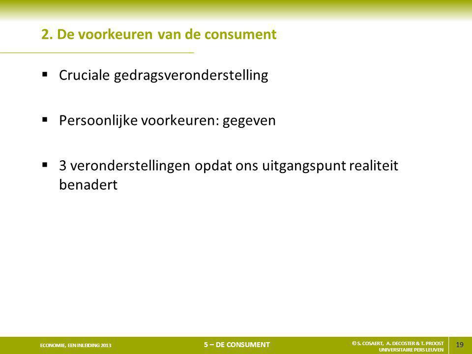 19 ECONOMIE, EEN INLEIDING 2013 5 – DE CONSUMENT © S. COSAERT, A. DECOSTER & T. PROOST UNIVERSITAIRE PERS LEUVEN 2. De voorkeuren van de consument  C