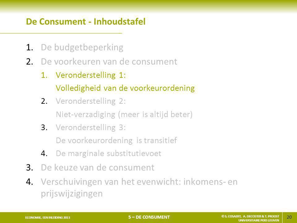 20 ECONOMIE, EEN INLEIDING 2013 5 – DE CONSUMENT © S. COSAERT, A. DECOSTER & T. PROOST UNIVERSITAIRE PERS LEUVEN De Consument - Inhoudstafel 1.De budg