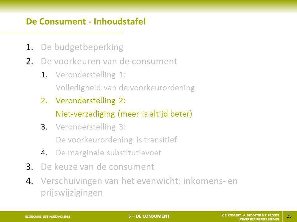 25 ECONOMIE, EEN INLEIDING 2013 5 – DE CONSUMENT © S. COSAERT, A. DECOSTER & T. PROOST UNIVERSITAIRE PERS LEUVEN De Consument - Inhoudstafel 1.De budg