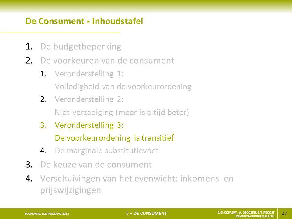 27 ECONOMIE, EEN INLEIDING 2013 5 – DE CONSUMENT © S. COSAERT, A. DECOSTER & T. PROOST UNIVERSITAIRE PERS LEUVEN De Consument - Inhoudstafel 1.De budg