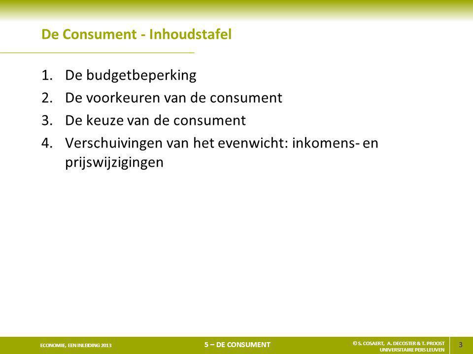 3 ECONOMIE, EEN INLEIDING 2013 5 – DE CONSUMENT © S. COSAERT, A. DECOSTER & T. PROOST UNIVERSITAIRE PERS LEUVEN De Consument - Inhoudstafel 1.De budge