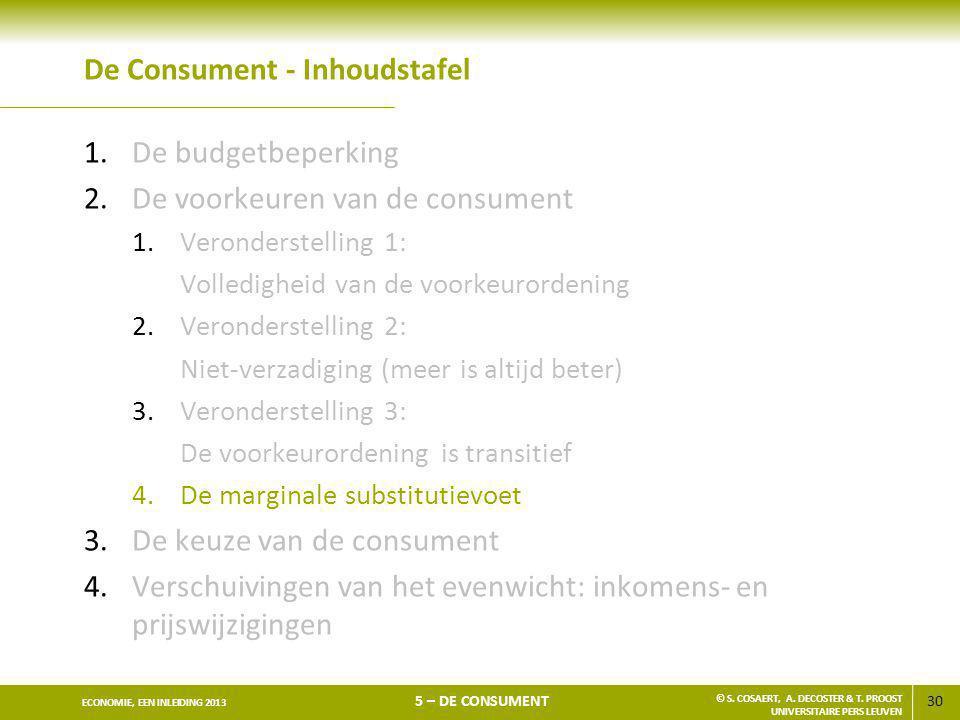 30 ECONOMIE, EEN INLEIDING 2013 5 – DE CONSUMENT © S. COSAERT, A. DECOSTER & T. PROOST UNIVERSITAIRE PERS LEUVEN De Consument - Inhoudstafel 1.De budg
