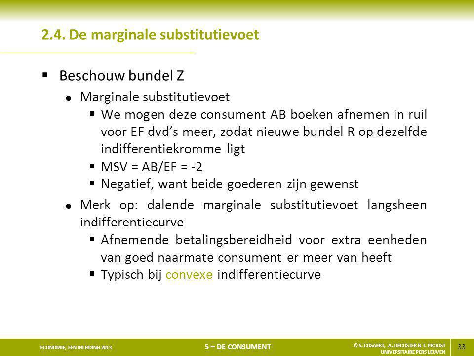 33 ECONOMIE, EEN INLEIDING 2013 5 – DE CONSUMENT © S. COSAERT, A. DECOSTER & T. PROOST UNIVERSITAIRE PERS LEUVEN 2.4. De marginale substitutievoet  B