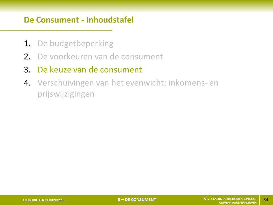 34 ECONOMIE, EEN INLEIDING 2013 5 – DE CONSUMENT © S. COSAERT, A. DECOSTER & T. PROOST UNIVERSITAIRE PERS LEUVEN De Consument - Inhoudstafel 1.De budg
