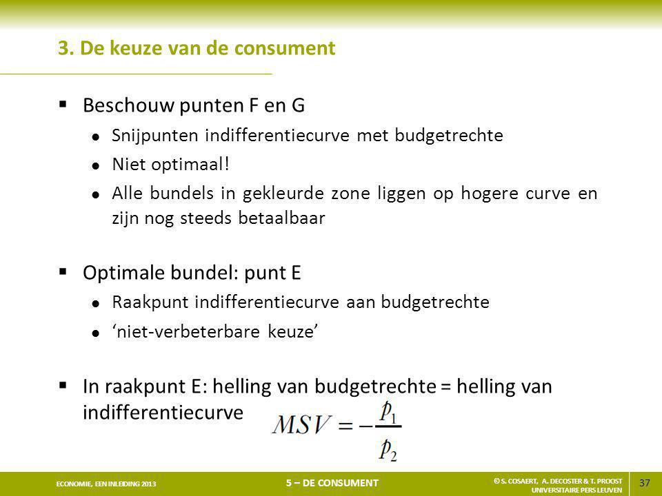 37 ECONOMIE, EEN INLEIDING 2013 5 – DE CONSUMENT © S. COSAERT, A. DECOSTER & T. PROOST UNIVERSITAIRE PERS LEUVEN 3. De keuze van de consument  Bescho