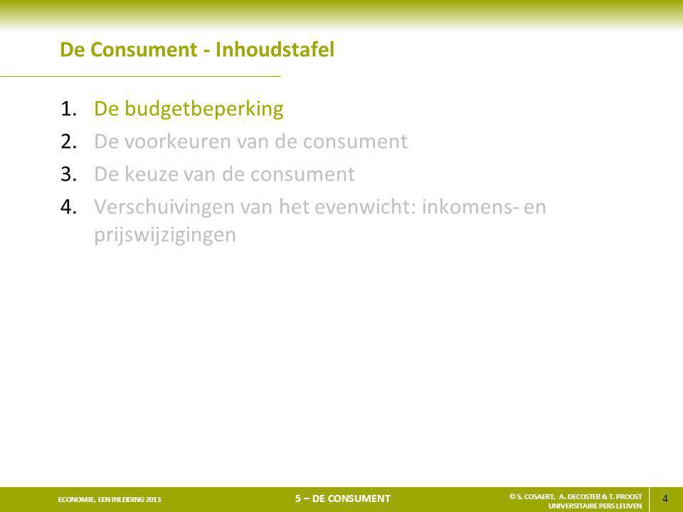 4 ECONOMIE, EEN INLEIDING 2013 5 – DE CONSUMENT © S. COSAERT, A. DECOSTER & T. PROOST UNIVERSITAIRE PERS LEUVEN De Consument - Inhoudstafel 1.De budge