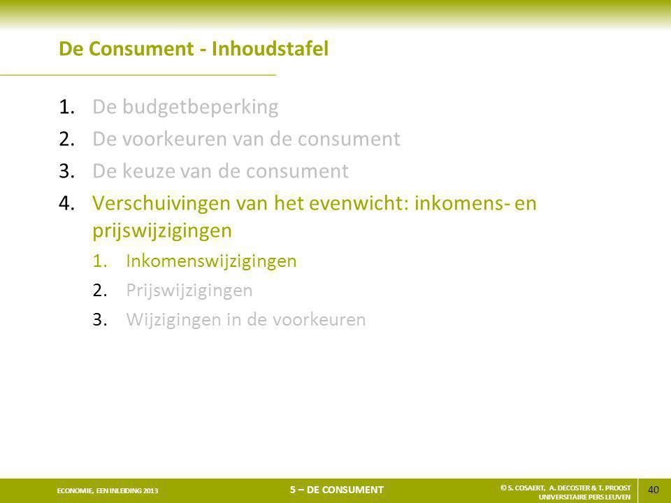 40 ECONOMIE, EEN INLEIDING 2013 5 – DE CONSUMENT © S. COSAERT, A. DECOSTER & T. PROOST UNIVERSITAIRE PERS LEUVEN De Consument - Inhoudstafel 1.De budg