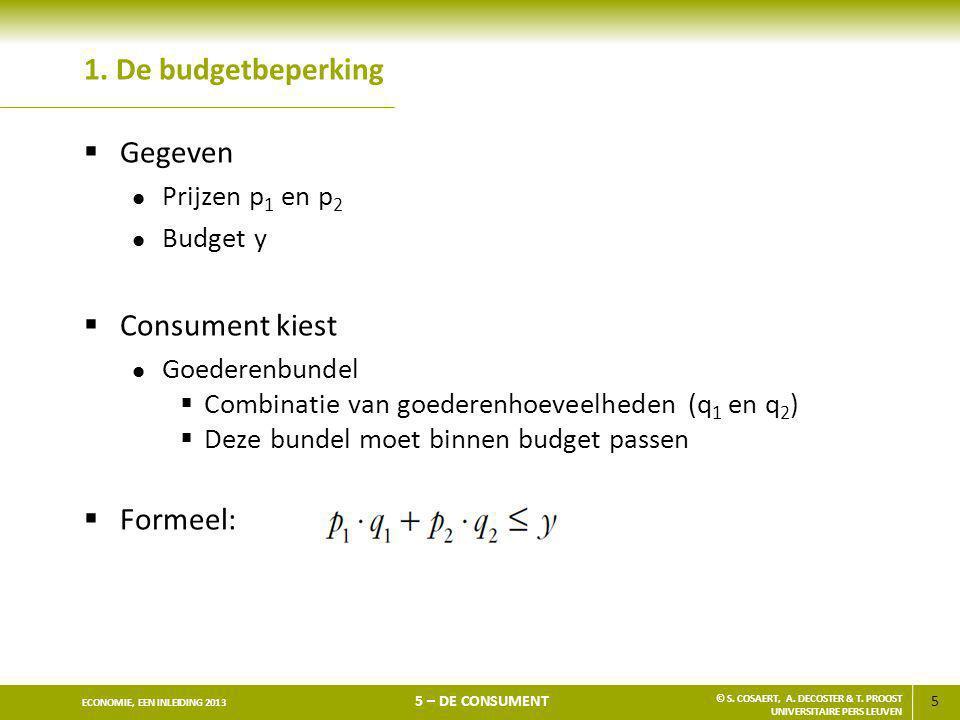 5 ECONOMIE, EEN INLEIDING 2013 5 – DE CONSUMENT © S. COSAERT, A. DECOSTER & T. PROOST UNIVERSITAIRE PERS LEUVEN 1. De budgetbeperking  Gegeven l Prij