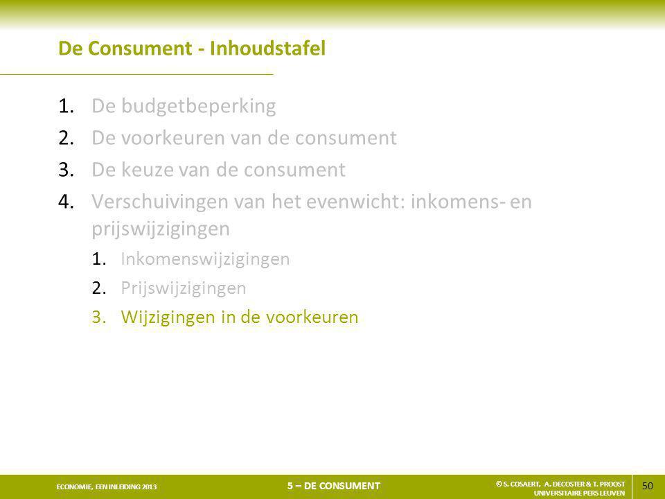 50 ECONOMIE, EEN INLEIDING 2013 5 – DE CONSUMENT © S. COSAERT, A. DECOSTER & T. PROOST UNIVERSITAIRE PERS LEUVEN De Consument - Inhoudstafel 1.De budg
