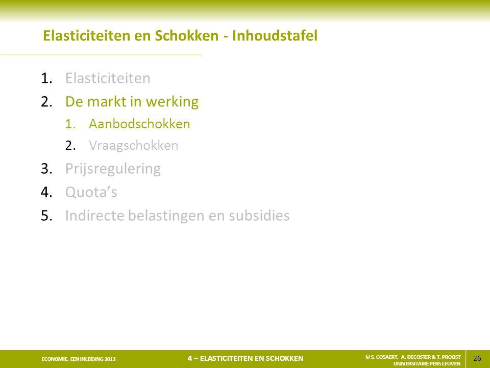 26 ECONOMIE, EEN INLEIDING 2013 4 – ELASTICITEITEN EN SCHOKKEN © S. COSAERT, A. DECOSTER & T. PROOST UNIVERSITAIRE PERS LEUVEN Elasticiteiten en Schok