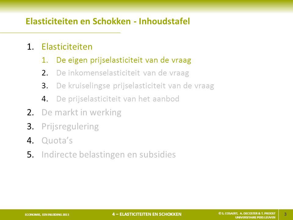 3 ECONOMIE, EEN INLEIDING 2013 4 – ELASTICITEITEN EN SCHOKKEN © S. COSAERT, A. DECOSTER & T. PROOST UNIVERSITAIRE PERS LEUVEN Elasticiteiten en Schokk