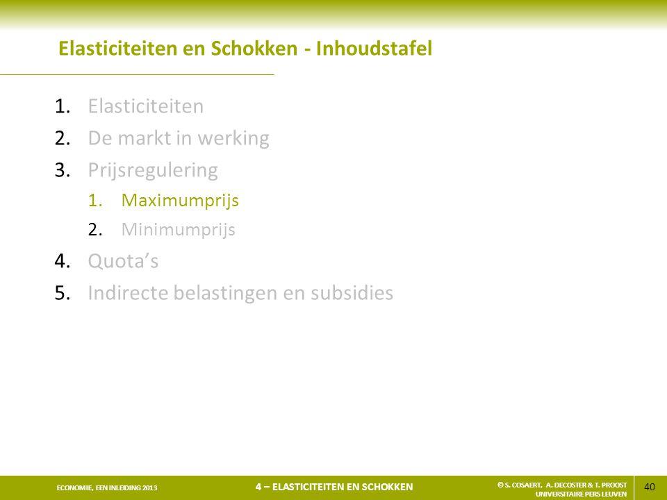40 ECONOMIE, EEN INLEIDING 2013 4 – ELASTICITEITEN EN SCHOKKEN © S. COSAERT, A. DECOSTER & T. PROOST UNIVERSITAIRE PERS LEUVEN Elasticiteiten en Schok