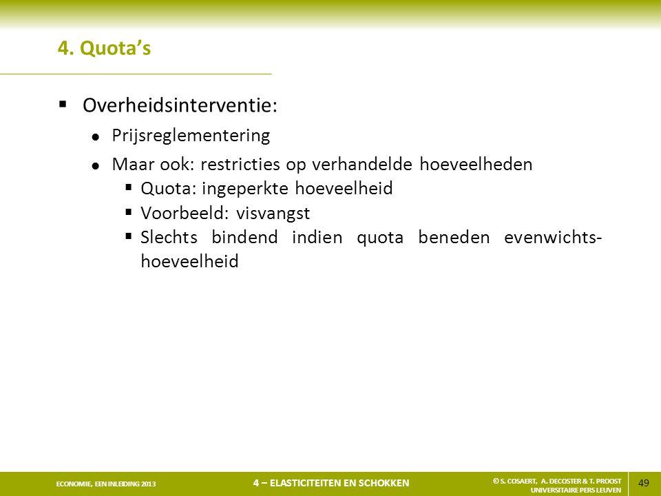 49 ECONOMIE, EEN INLEIDING 2013 4 – ELASTICITEITEN EN SCHOKKEN © S. COSAERT, A. DECOSTER & T. PROOST UNIVERSITAIRE PERS LEUVEN 4. Quota's  Overheidsi