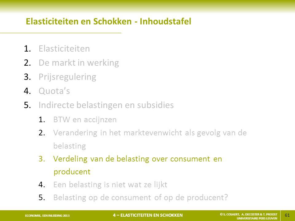 61 ECONOMIE, EEN INLEIDING 2013 4 – ELASTICITEITEN EN SCHOKKEN © S. COSAERT, A. DECOSTER & T. PROOST UNIVERSITAIRE PERS LEUVEN Elasticiteiten en Schok