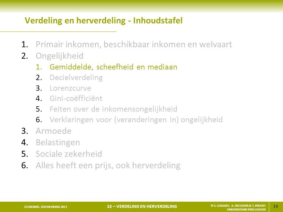 19 ECONOMIE, EEN INLEIDING 2013 13 – VERDELING EN HERVERDELING © S.