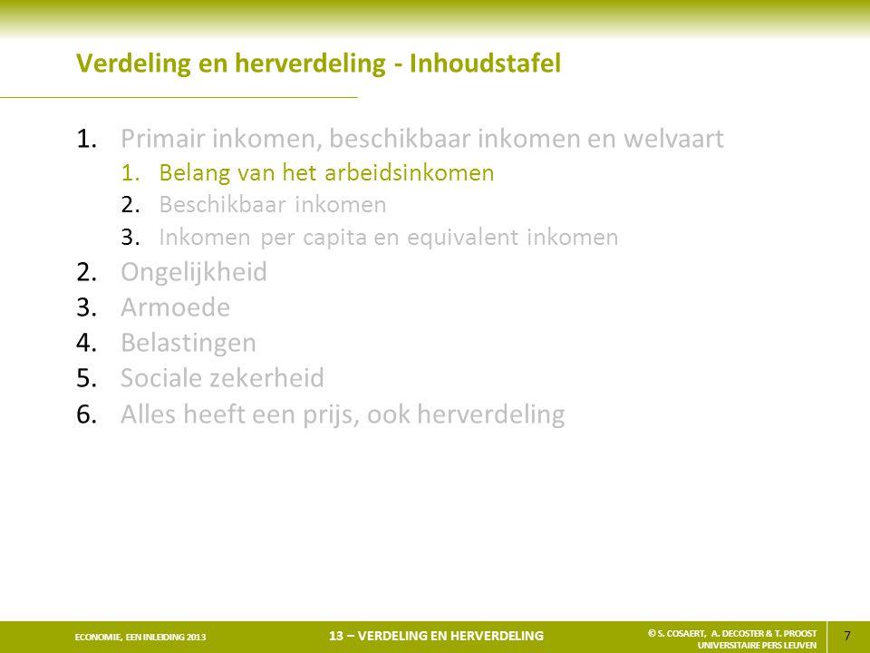 108 ECONOMIE, EEN INLEIDING 2013 13 – VERDELING EN HERVERDELING © S.