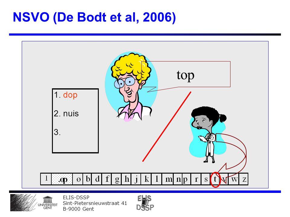 ELIS-DSSP Sint-Pietersnieuwstraat 41 B-9000 Gent NSVO (De Bodt et al, 2006) top 1. dop 2. nuis 3.