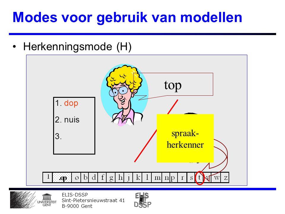 ELIS-DSSP Sint-Pietersnieuwstraat 41 B-9000 Gent Modes voor gebruik van modellen Herkenningsmode (H) top 1.