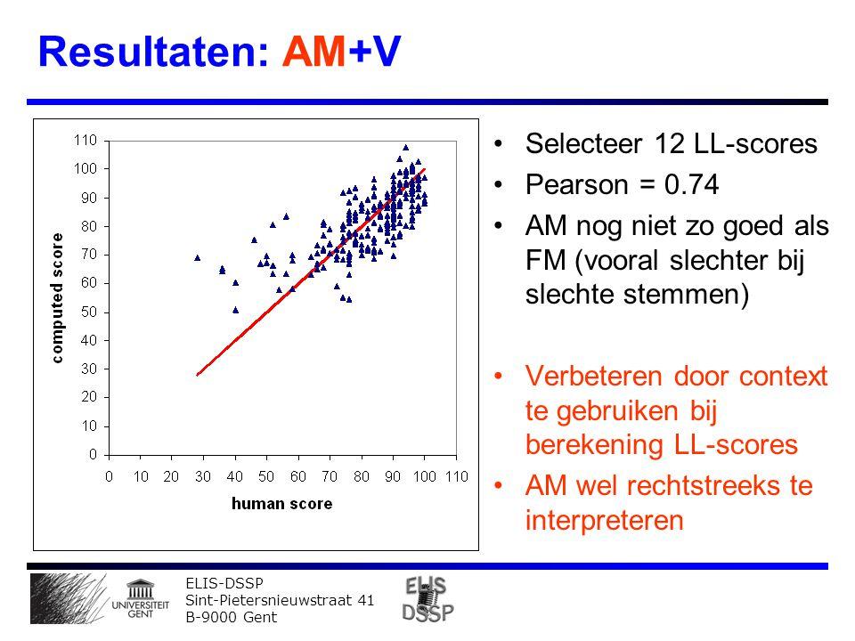 ELIS-DSSP Sint-Pietersnieuwstraat 41 B-9000 Gent Resultaten: AM+V Selecteer 12 LL-scores Pearson = 0.74 AM nog niet zo goed als FM (vooral slechter bij slechte stemmen) Verbeteren door context te gebruiken bij berekening LL-scores AM wel rechtstreeks te interpreteren