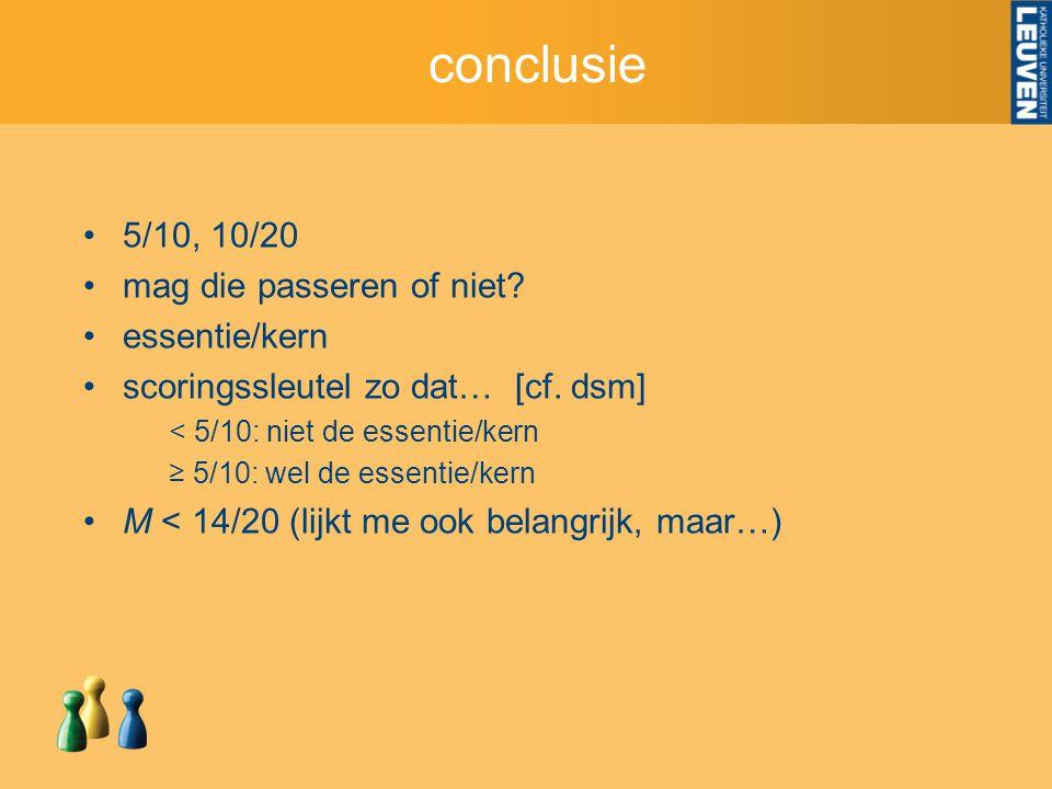 conclusie 5/10, 10/20 mag die passeren of niet. essentie/kern scoringssleutel zo dat… [cf.