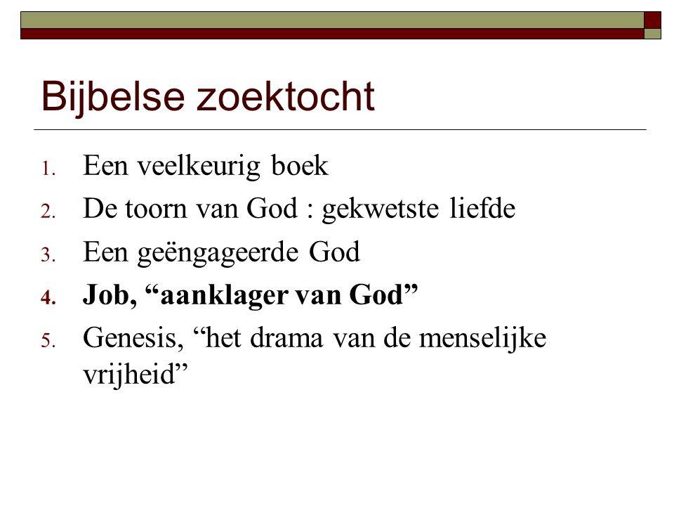 """Bijbelse zoektocht 1. Een veelkeurig boek 2. De toorn van God : gekwetste liefde 3. Een geëngageerde God 4. Job, """"aanklager van God"""" 5. Genesis, """"het"""