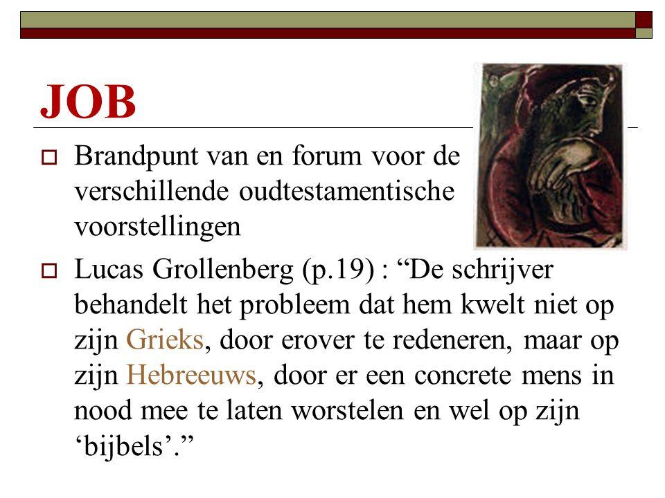 """JOB  Brandpunt van en forum voor de verschillende oudtestamentische voorstellingen  Lucas Grollenberg (p.19) : """"De schrijver behandelt het probleem"""