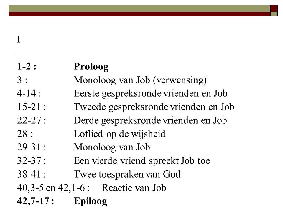 I 1-2 :Proloog 3 :Monoloog van Job (verwensing) 4-14 :Eerste gespreksronde vrienden en Job 15-21 :Tweede gespreksronde vrienden en Job 22-27 :Derde ge