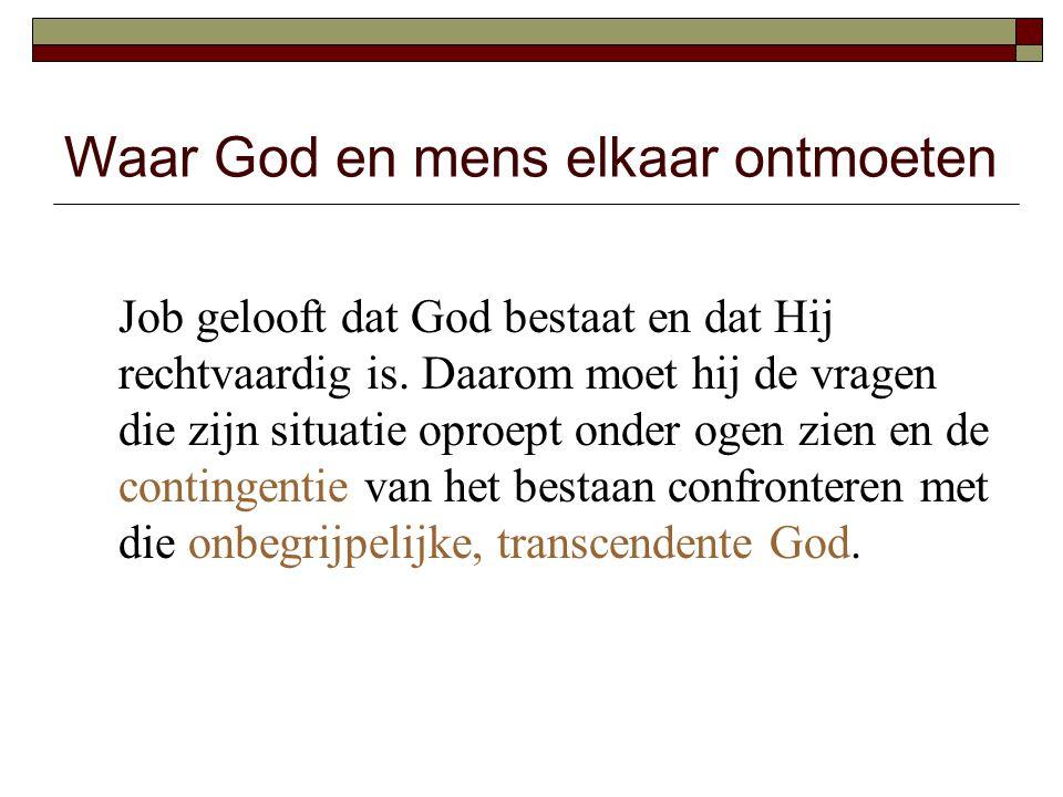 Waar God en mens elkaar ontmoeten Job gelooft dat God bestaat en dat Hij rechtvaardig is. Daarom moet hij de vragen die zijn situatie oproept onder og