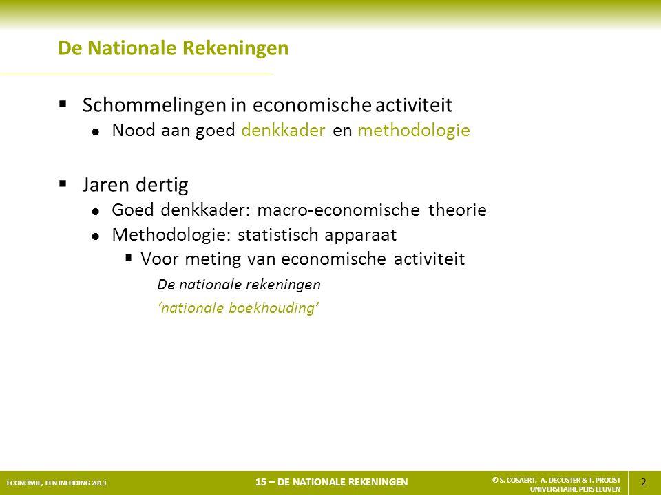 2 ECONOMIE, EEN INLEIDING 2013 15 – DE NATIONALE REKENINGEN © S. COSAERT, A. DECOSTER & T. PROOST UNIVERSITAIRE PERS LEUVEN De Nationale Rekeningen 