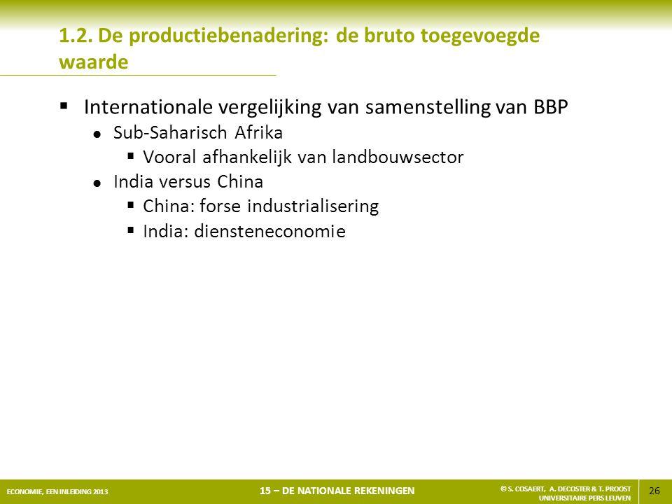 26 ECONOMIE, EEN INLEIDING 2013 15 – DE NATIONALE REKENINGEN © S. COSAERT, A. DECOSTER & T. PROOST UNIVERSITAIRE PERS LEUVEN 1.2. De productiebenaderi