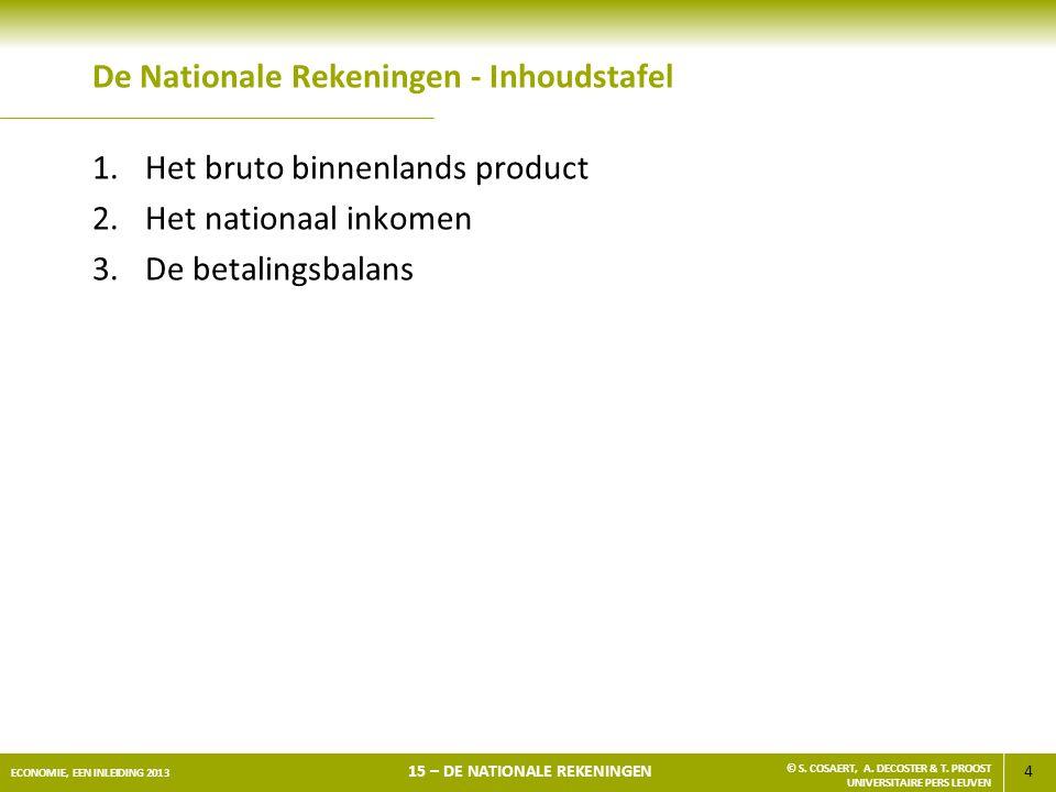 4 ECONOMIE, EEN INLEIDING 2013 15 – DE NATIONALE REKENINGEN © S. COSAERT, A. DECOSTER & T. PROOST UNIVERSITAIRE PERS LEUVEN De Nationale Rekeningen -
