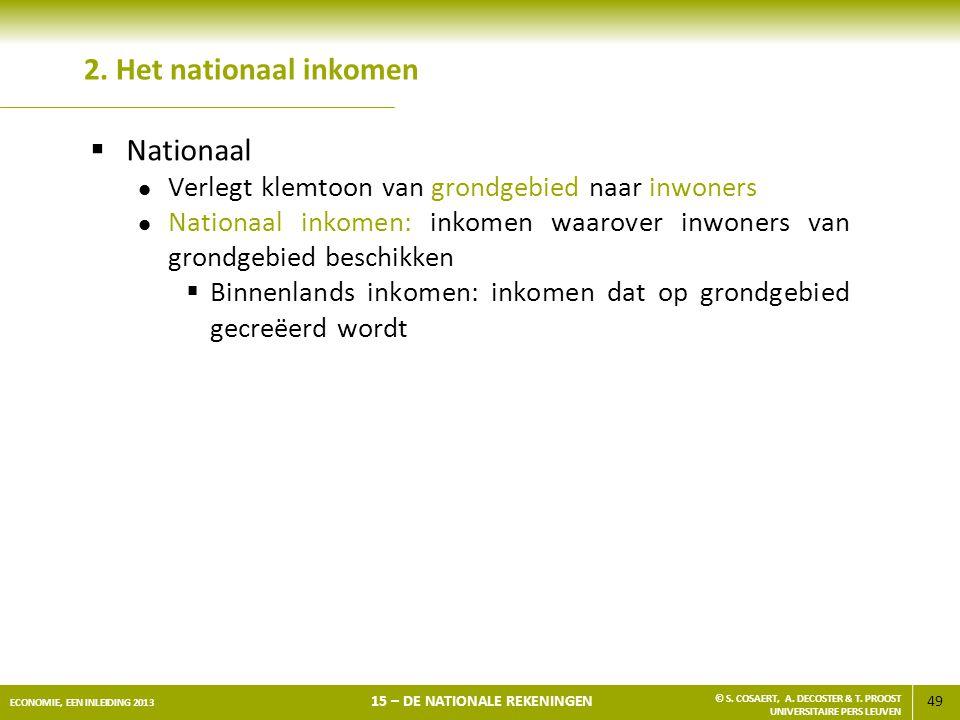 49 ECONOMIE, EEN INLEIDING 2013 15 – DE NATIONALE REKENINGEN © S. COSAERT, A. DECOSTER & T. PROOST UNIVERSITAIRE PERS LEUVEN 2. Het nationaal inkomen