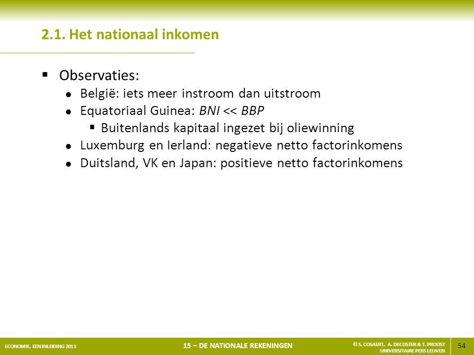 54 ECONOMIE, EEN INLEIDING 2013 15 – DE NATIONALE REKENINGEN © S. COSAERT, A. DECOSTER & T. PROOST UNIVERSITAIRE PERS LEUVEN 2.1. Het nationaal inkome
