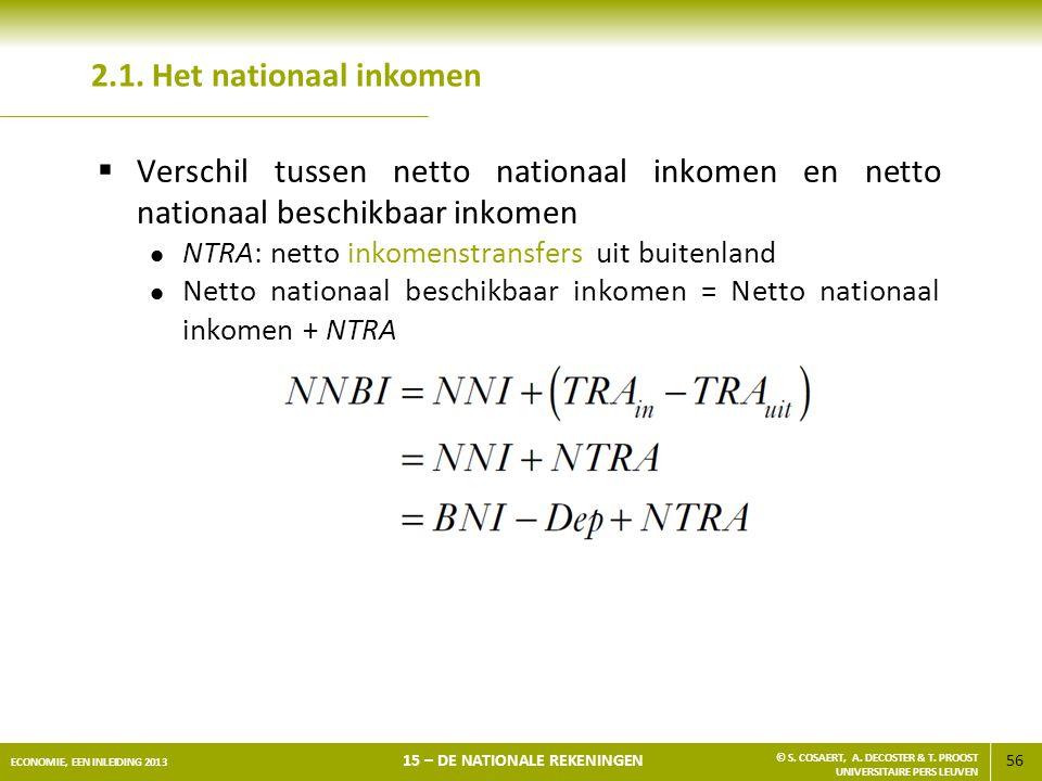 56 ECONOMIE, EEN INLEIDING 2013 15 – DE NATIONALE REKENINGEN © S. COSAERT, A. DECOSTER & T. PROOST UNIVERSITAIRE PERS LEUVEN 2.1. Het nationaal inkome