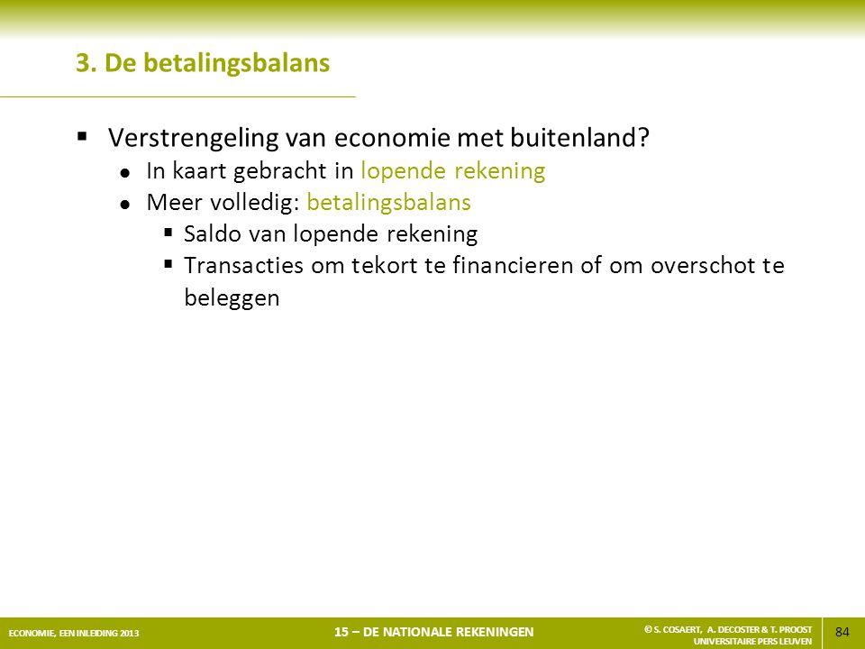 84 ECONOMIE, EEN INLEIDING 2013 15 – DE NATIONALE REKENINGEN © S. COSAERT, A. DECOSTER & T. PROOST UNIVERSITAIRE PERS LEUVEN 3. De betalingsbalans  V