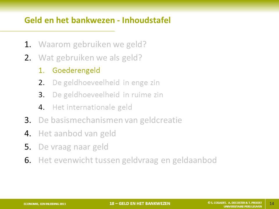 15 ECONOMIE, EEN INLEIDING 2013 18 – GELD EN HET BANKWEZEN © S.