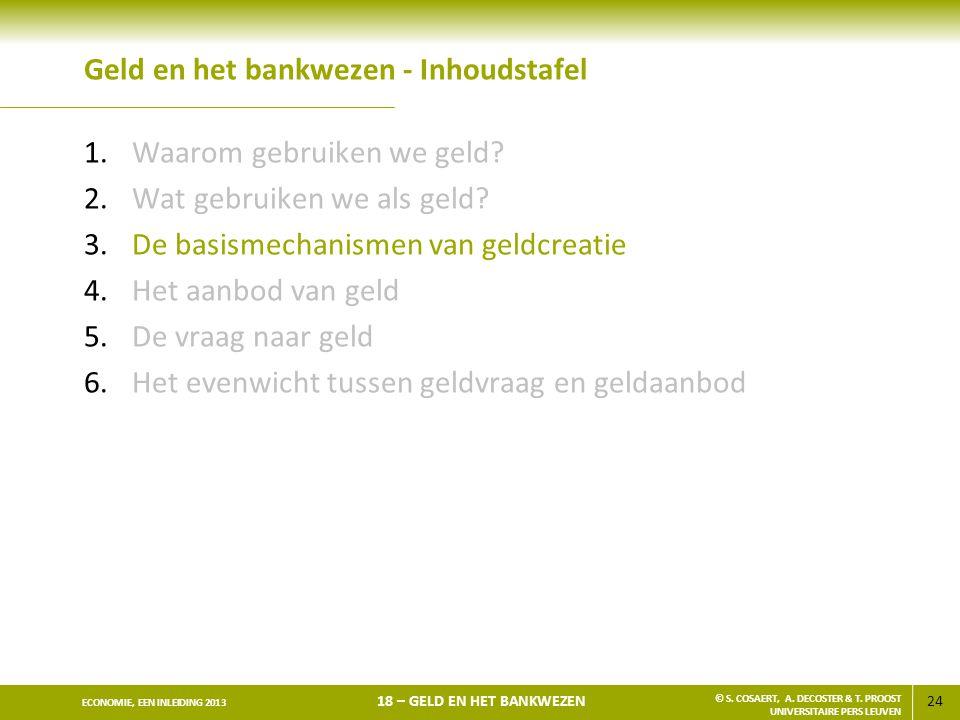 24 ECONOMIE, EEN INLEIDING 2013 18 – GELD EN HET BANKWEZEN © S. COSAERT, A. DECOSTER & T. PROOST UNIVERSITAIRE PERS LEUVEN Geld en het bankwezen - Inh