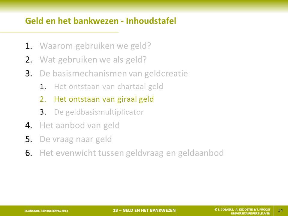 34 ECONOMIE, EEN INLEIDING 2013 18 – GELD EN HET BANKWEZEN © S. COSAERT, A. DECOSTER & T. PROOST UNIVERSITAIRE PERS LEUVEN Geld en het bankwezen - Inh