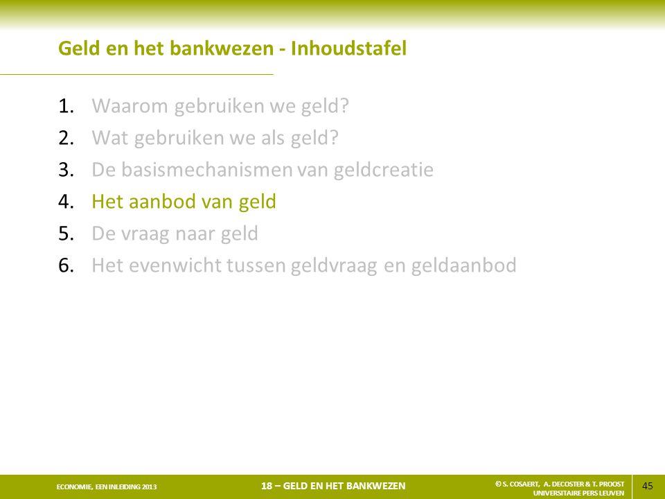 45 ECONOMIE, EEN INLEIDING 2013 18 – GELD EN HET BANKWEZEN © S. COSAERT, A. DECOSTER & T. PROOST UNIVERSITAIRE PERS LEUVEN Geld en het bankwezen - Inh