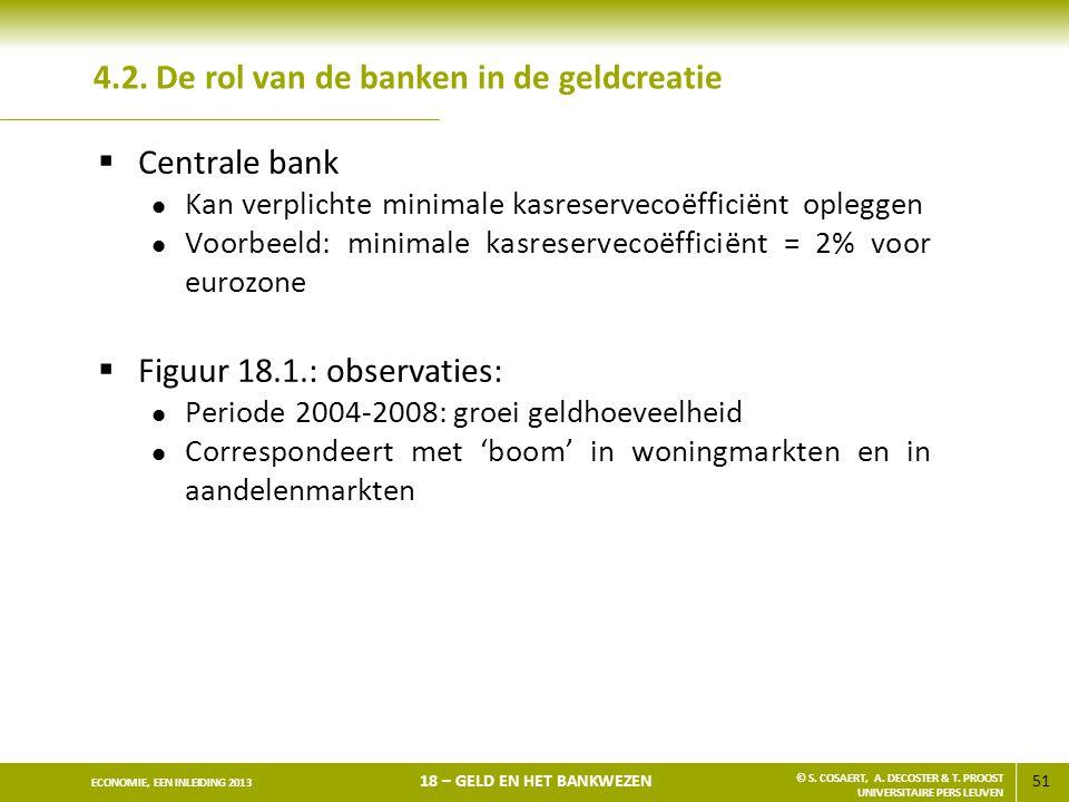 51 ECONOMIE, EEN INLEIDING 2013 18 – GELD EN HET BANKWEZEN © S. COSAERT, A. DECOSTER & T. PROOST UNIVERSITAIRE PERS LEUVEN 4.2. De rol van de banken i