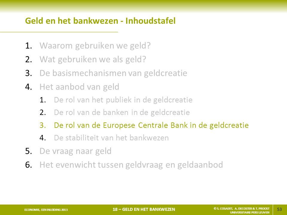 53 ECONOMIE, EEN INLEIDING 2013 18 – GELD EN HET BANKWEZEN © S. COSAERT, A. DECOSTER & T. PROOST UNIVERSITAIRE PERS LEUVEN Geld en het bankwezen - Inh