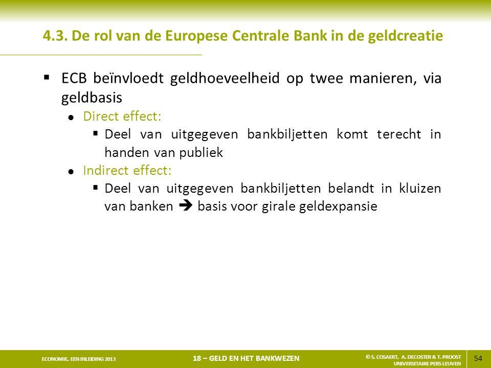 54 ECONOMIE, EEN INLEIDING 2013 18 – GELD EN HET BANKWEZEN © S. COSAERT, A. DECOSTER & T. PROOST UNIVERSITAIRE PERS LEUVEN 4.3. De rol van de Europese