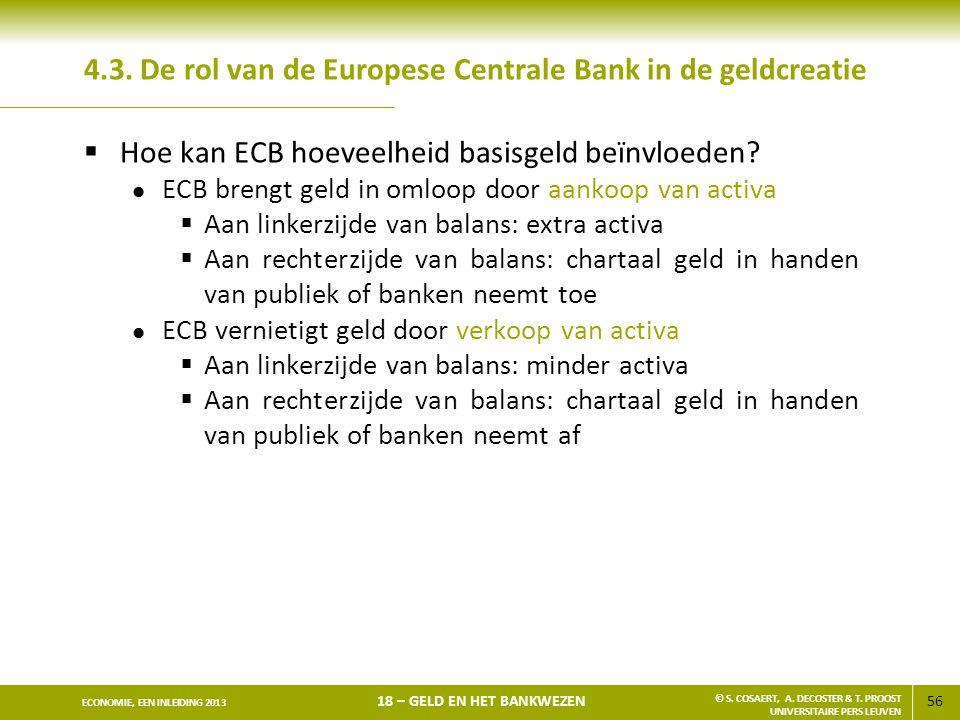 56 ECONOMIE, EEN INLEIDING 2013 18 – GELD EN HET BANKWEZEN © S. COSAERT, A. DECOSTER & T. PROOST UNIVERSITAIRE PERS LEUVEN 4.3. De rol van de Europese
